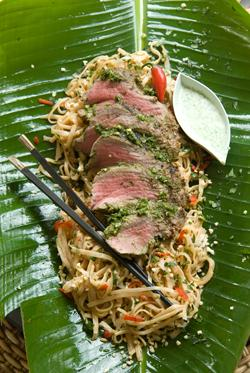 Thai fillet served with chilli peanut noodles recipe