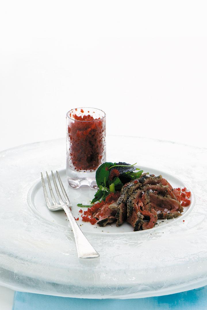 Peppered roast beef with beetroot granita recipe