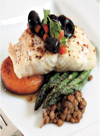 Grilled fish with Moroccan lentils, butternut fondant and grilled asparagus recipe