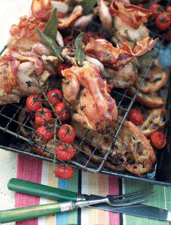 Roast quail with sticky tomato bruschetta recipe