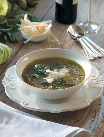 Winter greens minestrone with pesto recipe