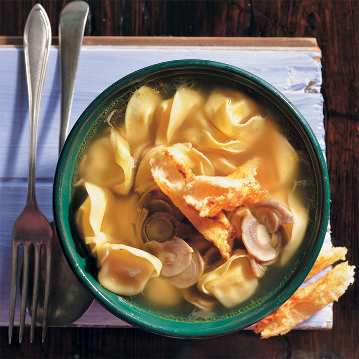 Chicken tortellini and mushroom soup