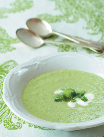 Light broad bean, Greek yoghurt and mint soup recipe