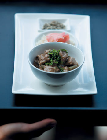 Beef kare served with steamed rice and togarashi recipe