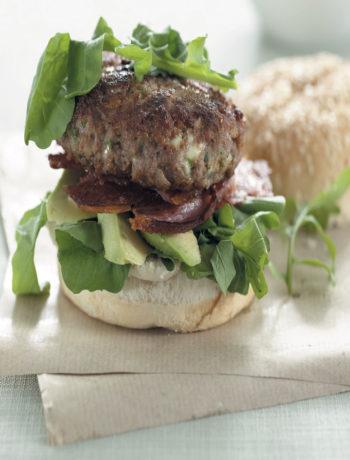 Rocket, avocado and bacon burger recipe