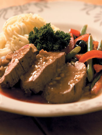 Fillet of beef with porcini mushroom gravy, mashed potatoes and stir-fried vegetables recipe