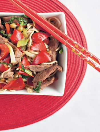 Sticky beef stir-fry with sprouts recipe