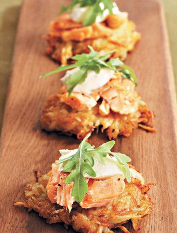 Tea-smoked trout on potato rösti with chive and horseradish cream