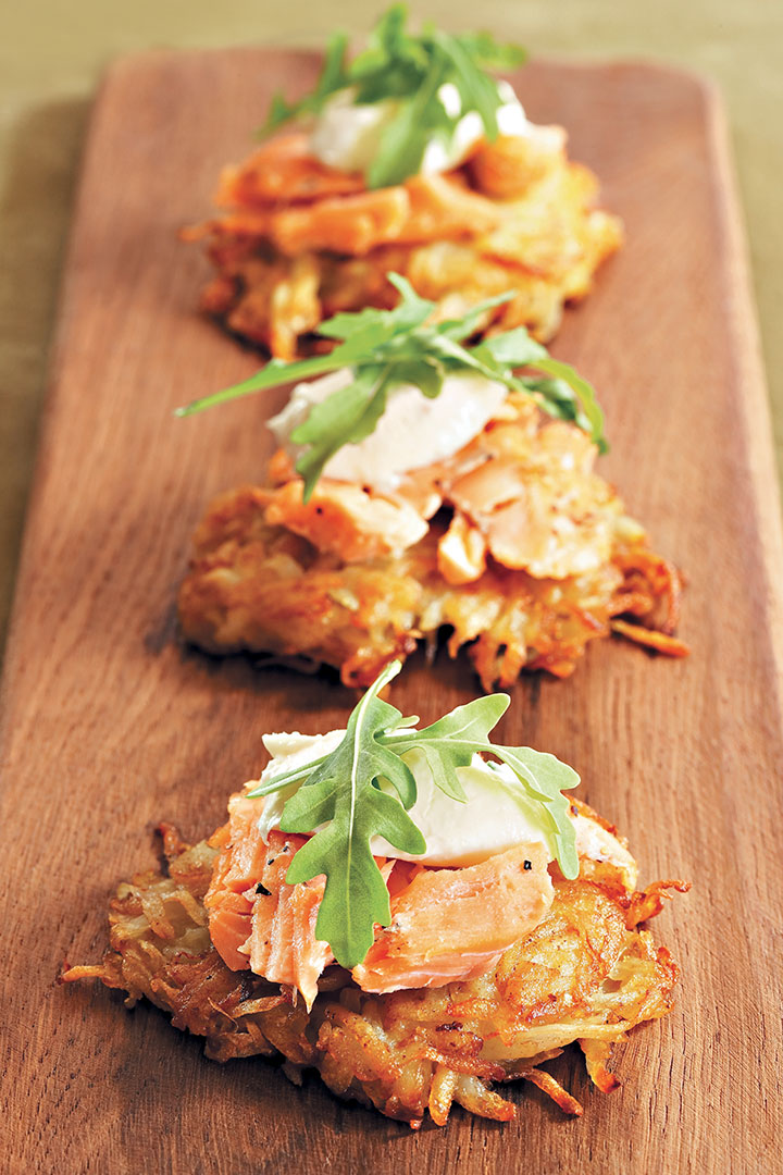 Tea-smoked trout on potato rösti with chive and horseradish cream