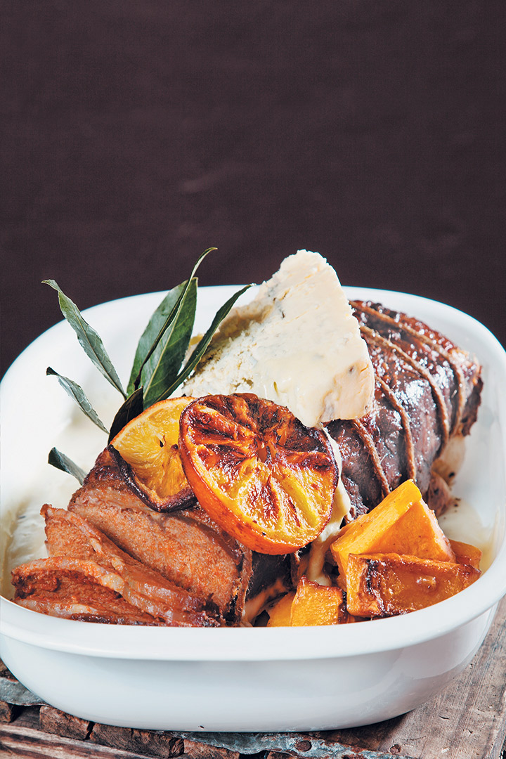Roast rib of beef with baked citrus butternut and melted Gorgonzola recipe