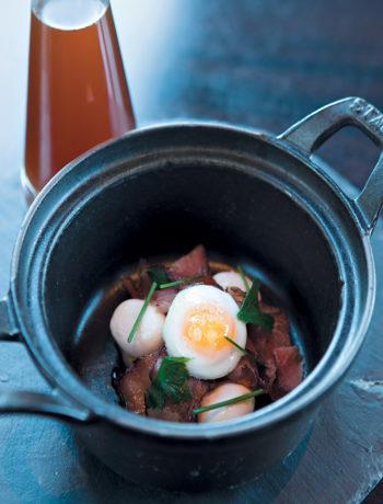 Biltong consommé with quail eggs recipe