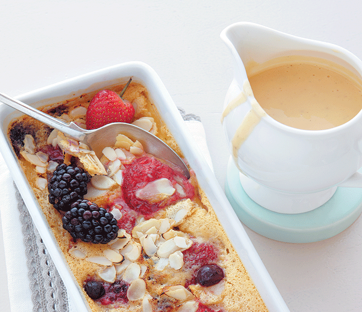 Berry and almond clafoutis with a zesty custard recipe