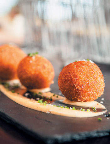 Lemon and thyme risotto balls with truffle mayonnaise recipe
