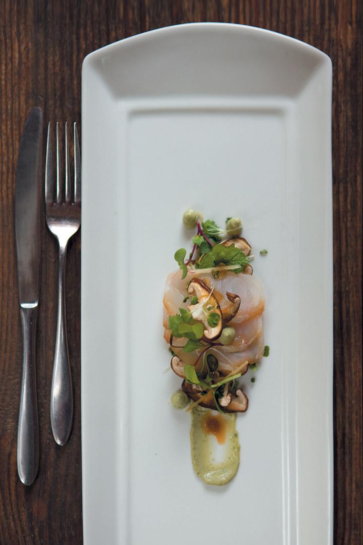 Asian cured fish with shiitake mushrooms and basil emulsion recipe
