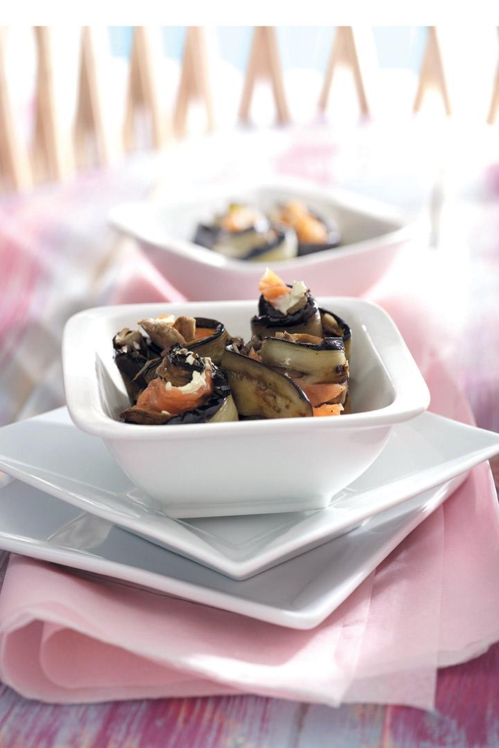 Aubergine, salmon and porcini rolls recipe