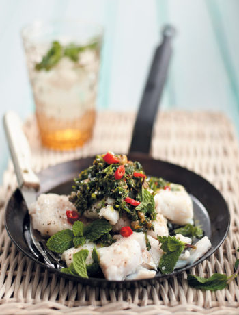 Hake fillet with herb and caper dressing recipe