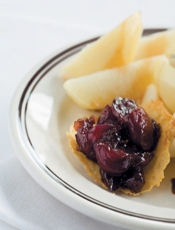 Potatoes with truffle oil, Parmesan tuilles and grape confit recipe
