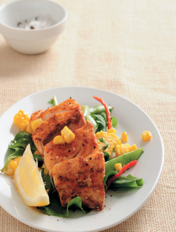 Smoky line fish with rocket and corn recipe