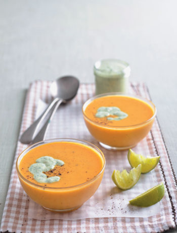 Spicy coconut butternut soup with coriander yoghurt recipe