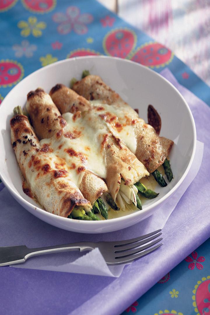Cheesy ham, leek and asparagus pancakes recipe