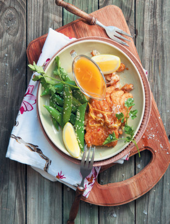 Crispy fried hake with orange and chilli sauce and sesame-coated sugar snap peas recipe