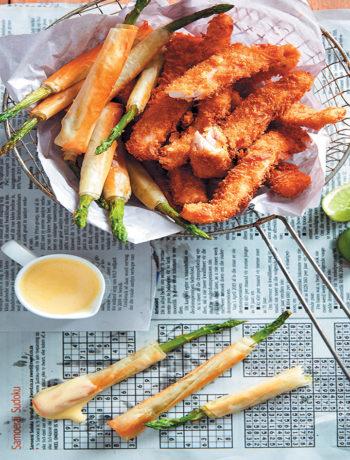 Angelfish goujons with asparagus cigars and hollandaise sauce recipe