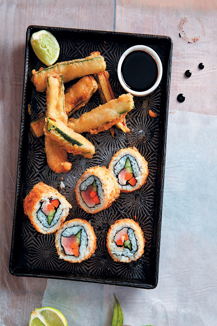 Deep-fried tuna rolls and tempura baby marrow chips recipe