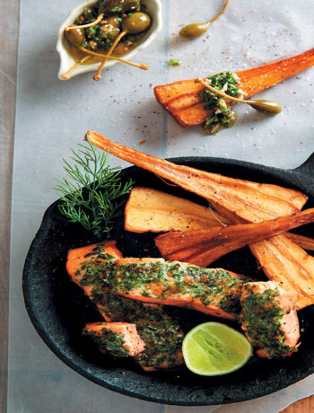 Herb-crusted rainbow trout, parsnip chips and salsa verde recipe