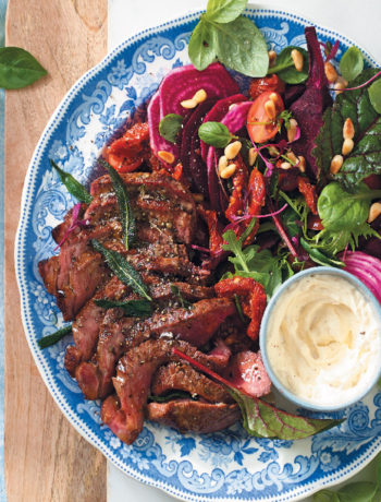 Herbed rump steak salad with horseradish crème fraîche recipe
