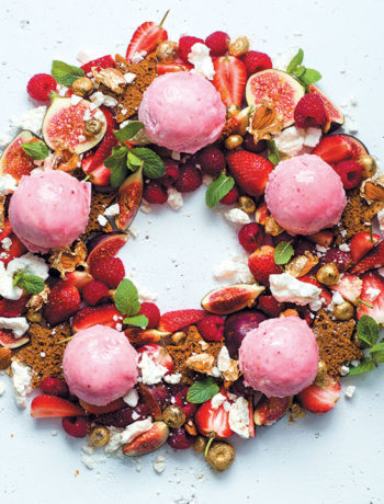 Meringue and gingerbread wreath with fig and raspberry ice cream