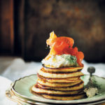 Potato pancakes with herbed crème fraiche and smoked salmon