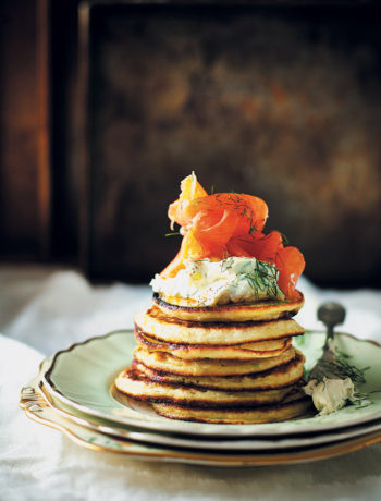 Potato pancakes with herbed crème fraiche and smoked salmon recipe
