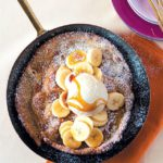 Puffed pancakes with bananas and Horlicks ice cream