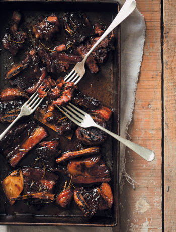 Slow-roasted Irish whiskey and thyme sticky beef short ribs recipe