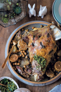 Slow-roasted lamb shoulder and chickpeas with preserved lemon, pistachio and mint pesto