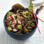 Spicy Hawaiian tuna poké bowl with avo, baby marrow noodles and kale chips
