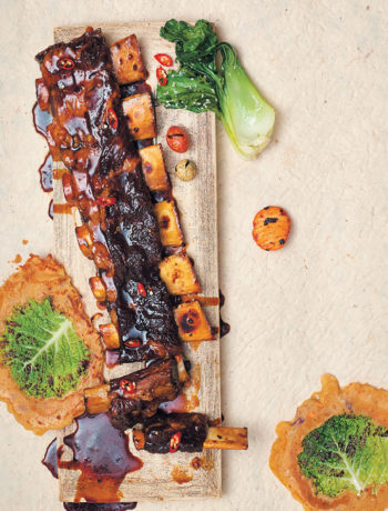 Sticky Asian beef ribs with savoy cabbage pancakes and bok choi recipe
