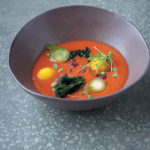Tomato gazpacho, frozen olive oil and yellow-pepper sorbet with olives and herbs