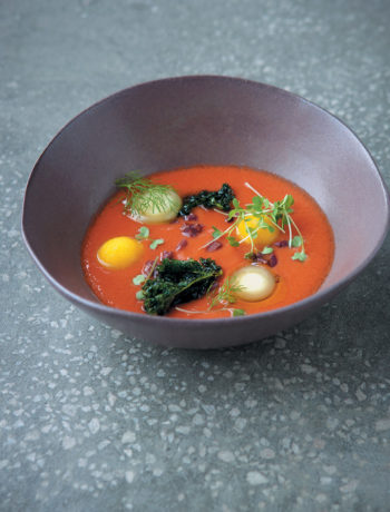Tomato gazpacho, frozen olive oil and yellow-pepper sorbet with olives and herbs recipe