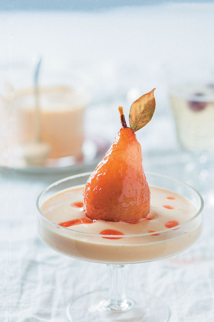 Watermelon-poached-pears-with-sabayon recipe