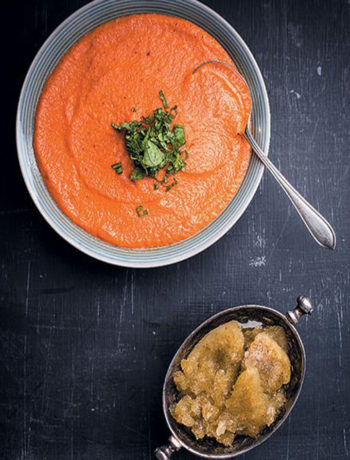 Chan Marti's Chilled smoked tomato soup with basil sorbet recipe