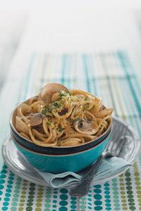 Clam pasta with gremolata topping recipe