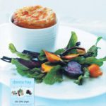 Cheat's goat's cheese soufflé  with roasted beetroot salad