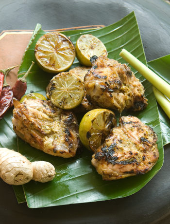 Chicken thighs with lime juice and ginger