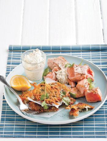 Grilled salmon with coriander rösti and dill crème fraîche recipe