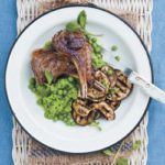 Lamb chops with grilled aubergines and minty mushy peas