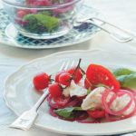 Pickled red onions in a Caprese salad