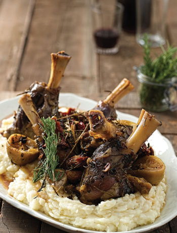 Slow-roasted Mediterranean lamb shanks