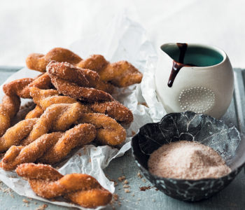 Vetkoek twists with chocolate coffee dipping sauce