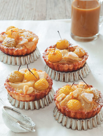 Apple and butterscotch tartlets with baby apples